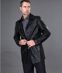 Men's High Quality Sheepskin Leather Jacket Men's New Brand Leather Coat Free Shipping / M-3XL(China (Mainland))