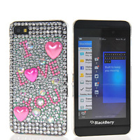 NEW BLING RHINESTONE CRYSTAL DIAMOND HARD BACK CASE COVER FOR BLACKBERRY Z10 FREE SHIPPING