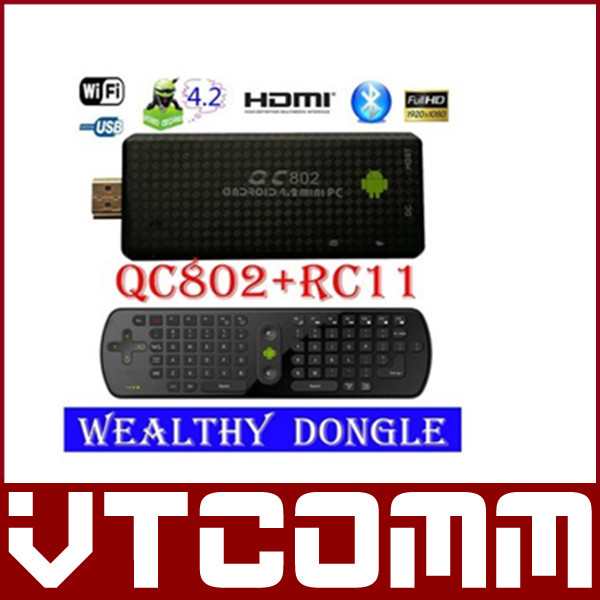 RC11 Air Mouse QC802 RK3188 Quad Core Bluetooth Wifi Android 4.2 DDR3 2GB/ 8GB Rom 3G Mini Pc Google Android TV Box HTML 5 HMDI(China (Mainland))