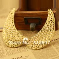 European and American retro temperament pearl Starry hollow metal false collar necklace 72g