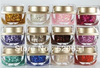 FreeShipping Super Flash Chip Color  UV Gel Glitter Gel UV Builder Colors Gel 15ml Nail Art EZFLOW UV Gel 12Pcs/Set