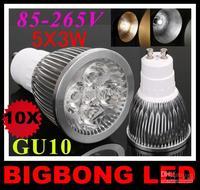 HOT SALE!! led lamp 5x3W 15W GU10 85-265V Led Lights led Spotlight LED Bulbs Downlight 1pcs/lot