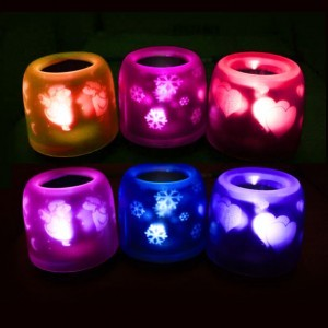 Fast and free shipping 4pcs/lot Voice projection oval shape candle lamp with ABS(China (Mainland))