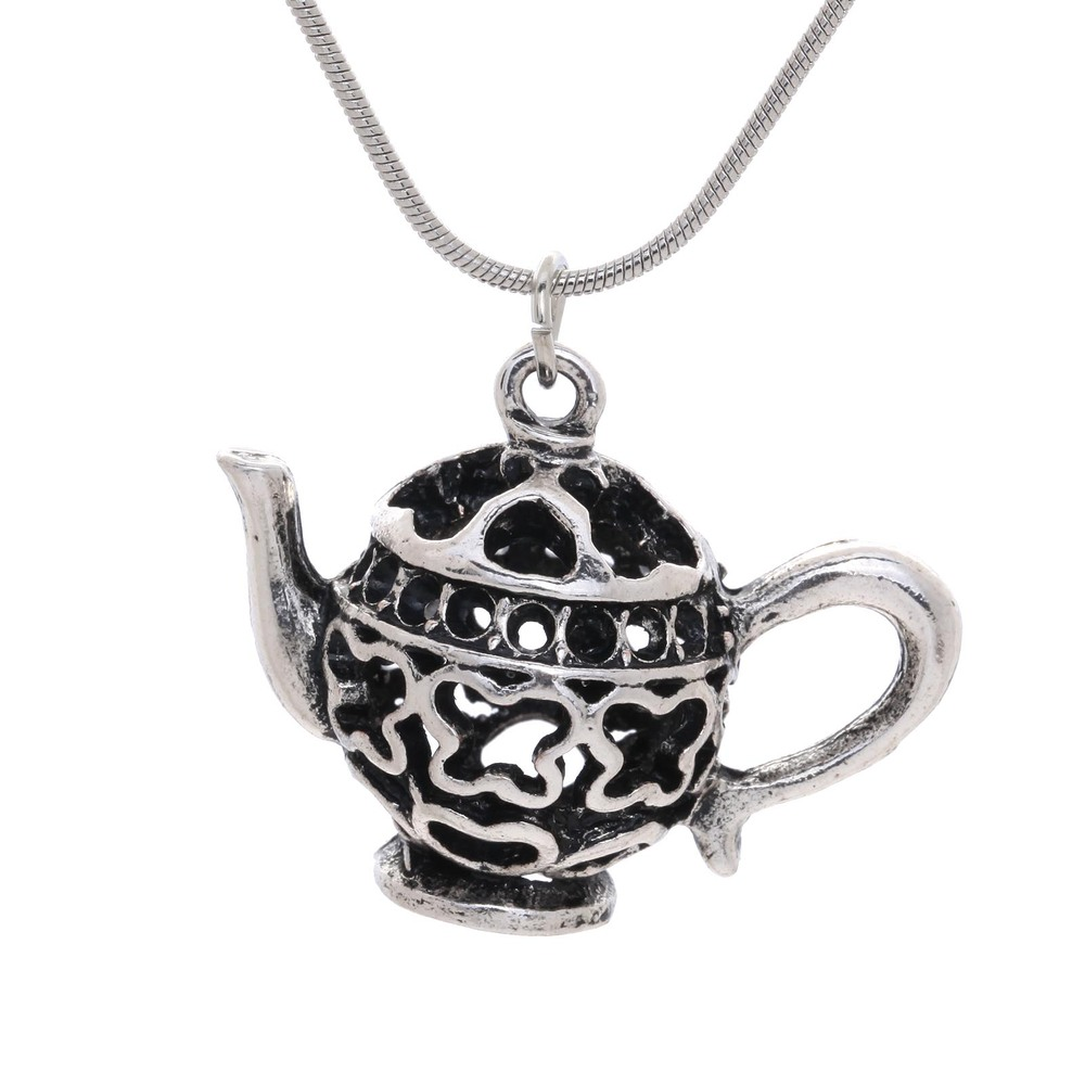 Amy-bria jewerly New arrivals Design in retro ways and Plating antique silver pendant Teapot shape Hollowed-out stereo shape(China (Mainland))