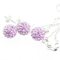NEW 925 silver Stud Earrings + Necklace Shamballa set  Violet Crystal Ball jewelry Sets for women Top quality