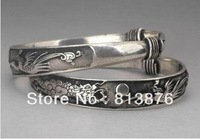 Rare 2 Tibet silver carved DRAGON men's bracelet bangle