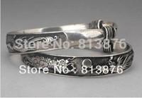 Rare 2 Tibet silver carved DRAGON men's bracelet bangle