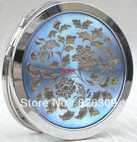 50pcs/lot cosmetic pocket compact stainless makeup mirror gift