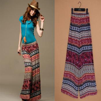 2013 bohemian long maxi pants print vintage pants wide leg exotic casual large size ...