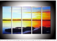 hand-painted The cloud sea sun High Q. Wall Decor Modern Landscape Oil Painting on canvas 8x24inch 5pcs/set