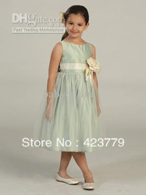 Lovely Flower Girl Dress Spaghetti Sash Flower Ruffles A-Line Girl's Pageant Dresses(China (Mainland))