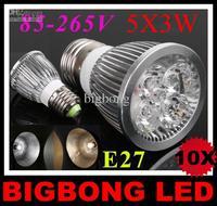 HOT SALE! 2014 led lamp 5x3W 15W E27 85-265V Led Lights led Spotlight LED Bulbs Downlight 1pcs/lot