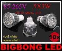 2014 ON sales 1pcs led lamp 5x3W 15W GU10/E27/MR16 85-265V Led Lights led Spotlight LED Bulbs Downlight
