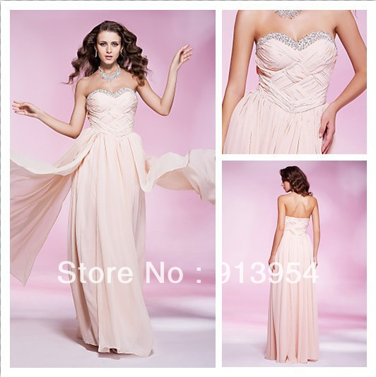 Angel Bridal 2013 New Floor-length Sweetheart Chiffon Prom Gown Formal Evening Dress With Criss-Cross Bodice #00175819 Custom(China (Mainland))