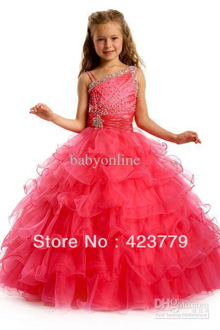 One Shoulder Girl`s Pageant Dress Ball Gown Organza Beaded Sleeveless Multi Tiered Full-Length 1411(China (Mainland))