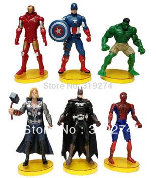 Wholesale/Retail Fashion Free Shipping FS 6pcs Set Marvel The Avengers Hulk Captain America Batman Thor Spiderman Action Figure