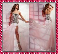 Sexy Strapless Sweetheart Delicate Rhinestone Side Slit White Chiffon Mermaid Style Prom Dress Open Back 2013