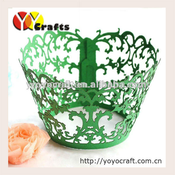 laser cut flower tree in various color customizable decorative paper wedding cupcake wrapper(China (Mainland))
