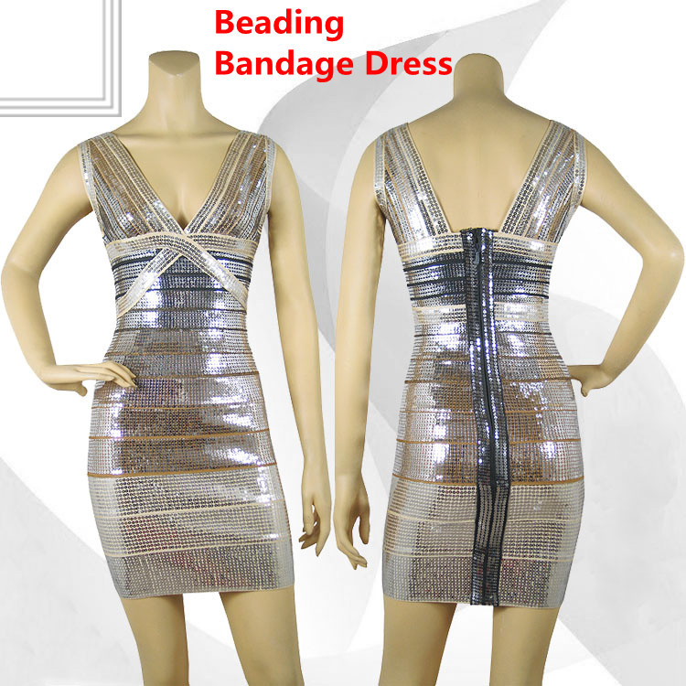 Free Shipping(1 Piece)+100% Guanteed ! Sexy Vneck Grey Beading Bandage Dress Ladies evening Dress Wholesale+Retail(China (Mainland))