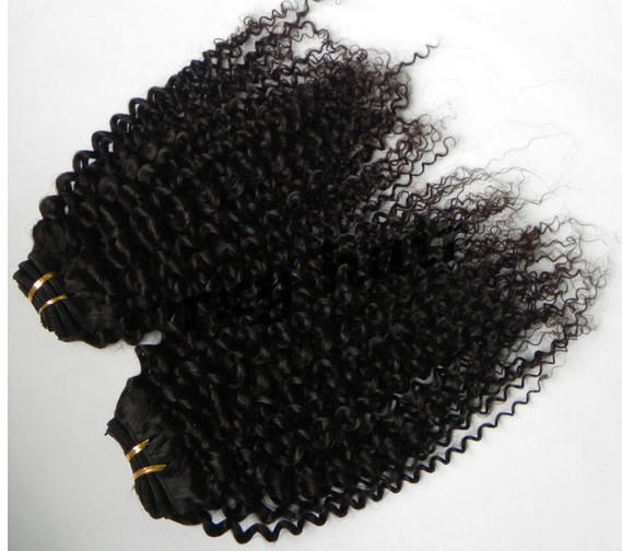 Best Selling Natural Color Unprocessed Beauty Virgin Mongolian Tight Curly Hair Extensions(China (Mainland))