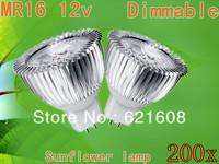 Free shipping 200pcs/lot High power MR16/GU10/GU5.3 9W AC/DC12V power led sunflower bulb led lamp Warm/cool/pure white Real CREE