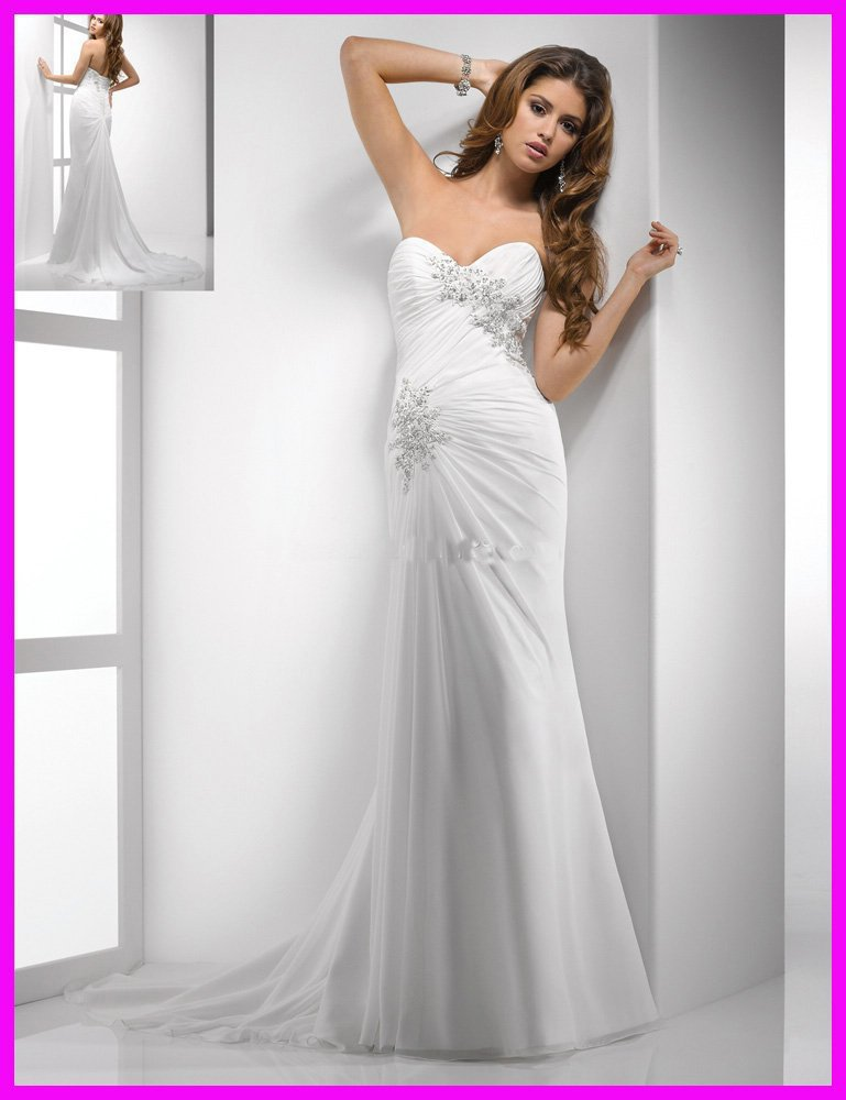 Strapless column casual beaded appliques summer beach bridal wedding dresses gowns W609zarabridal(China (Mainland))