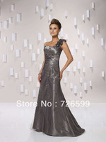 Free shipping 2014 New Fashion Satin Long Gray One Shoulder Beaded Evening Dresses Mother of the Bride Dresses Custom Size