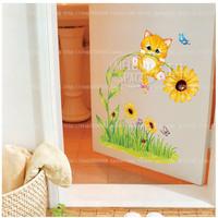 Removable Pvc Waterproof Cute Cat Wall Sticker Wall Decoal For Bedroom Kids Room Nursery Decor
