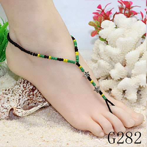 Free Shipping 30 PCS Glass and Tin Alloy Foot Jewelry Handcrafted Anklets foot bracelet Color G282(China (Mainland))