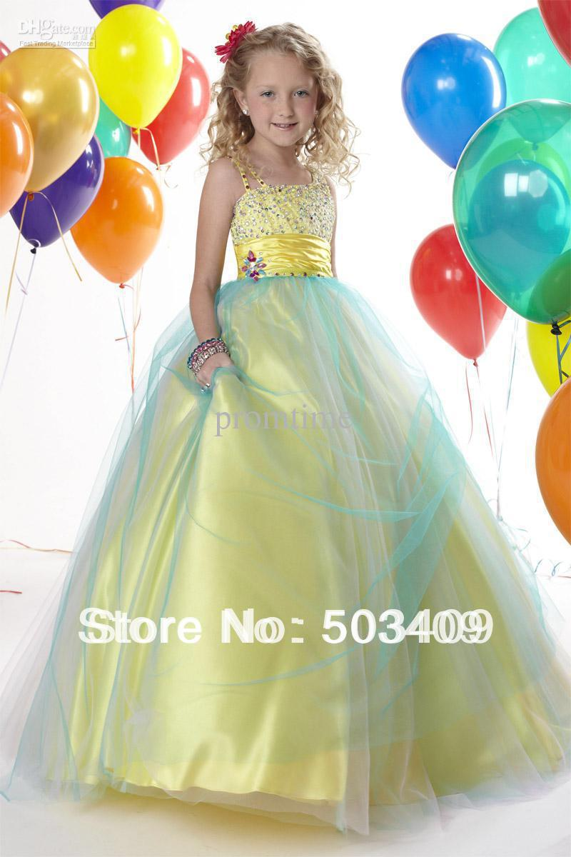 Hot Selling Shining Beads Sequins Stretch Satin Tulle Ball Gown Pretty Girls Pageant Dresses F242(China (Mainland))