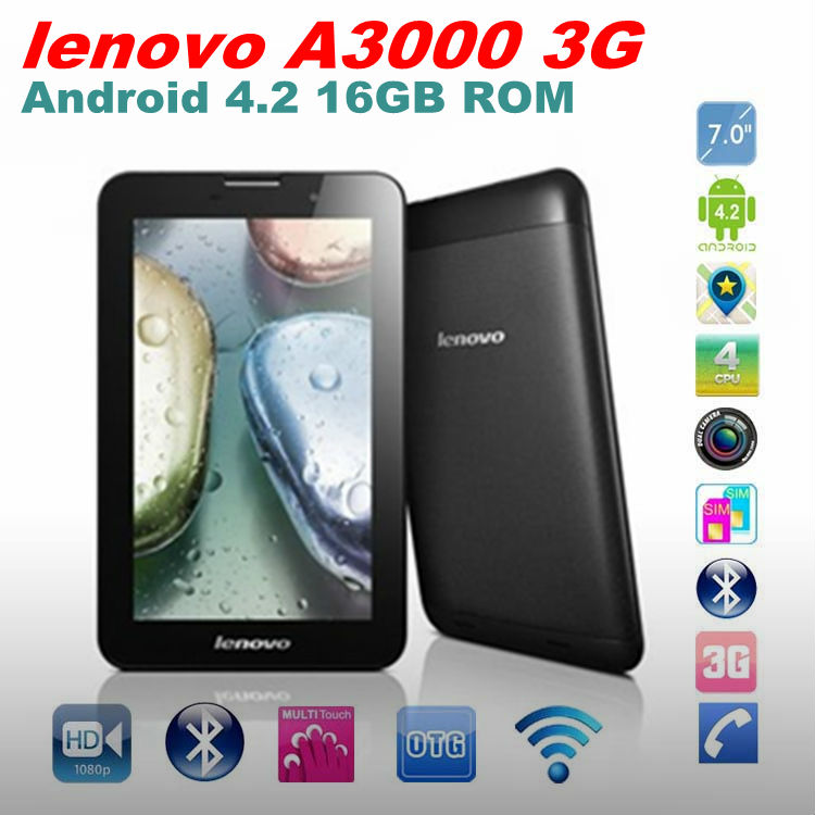 lenovo A3000 3G Phone Call MTK8389 Quad Core 1.2GHz Android 4.2 Tablet PC 16GB ROM Dual Camera Back 5.0MP GPS Wifi Bluetooth 4.0(China (Mainland))