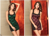New arrival! 2 pcs/lot, mixed order, sexy dress, fashion club wear, color green/pink, one size, DL2495