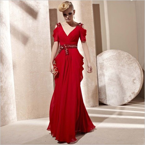 Fashion design long evening dress female red formal dress the wedding evening dress wine v-neck dress(China (Mainland))