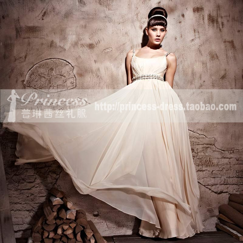 2012 champagne color cute spaghetti strap female evening dress long dress bridesmaid dress wine long design and sisters dress(China (Mainland))