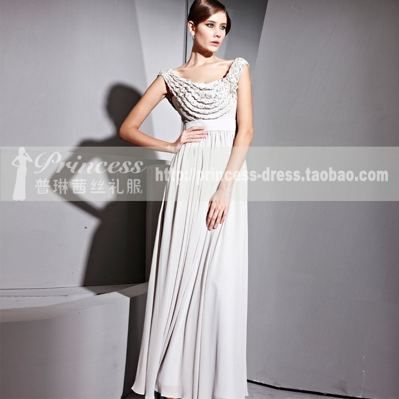 Fashion design banquet grey long evening dress sister dress evening dress(China (Mainland))