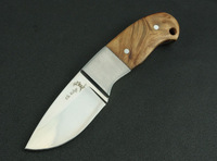 Elk Ridge Knives Outdoor Camping Fixed Blade Knife 5Cr13Mov Blade Steel + Wood Handle Leather Sheath
