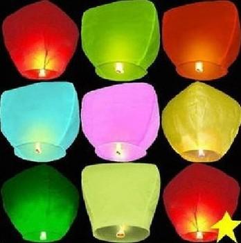 Chinese Sky Lantern Multicolor Flame Retardant Paper Lantern Wishing Lamp 10pcs/Lot