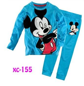 2013 6sets/lot, boy long sleeve t shirts & pants, mickey & Duck, children pyjamas, baby pajamas, XC155