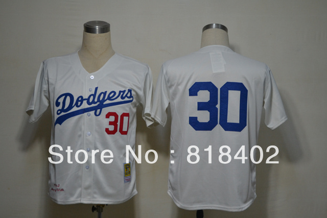 Free shipping-Los Angeles Dodgers #30 Dioner Navarro Cream jersey,Dodgers throwback jerseys(China (Mainland))
