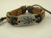 Wholesale Price Stylish Leaves Genuine Leather Braided ID Bracelets Leather Bracelet For Women Factory Price