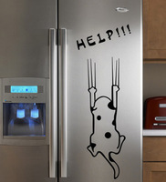 Free shipping Wall stickers cartoon child real refrigerator kitchen cabinet wall stickers tile furniture glass stickers help dog