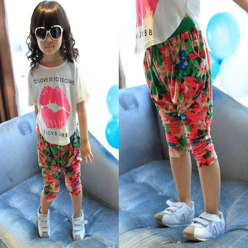 Female child symphony neon color block flower elastic waist pants harem pants legging children's clothing 2013 summer trousers(China (Mainland))