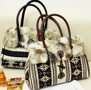 Winter onta plush women's handbag vintage faux fur bag shoulder bags free shipping!!!(China (Mainland))