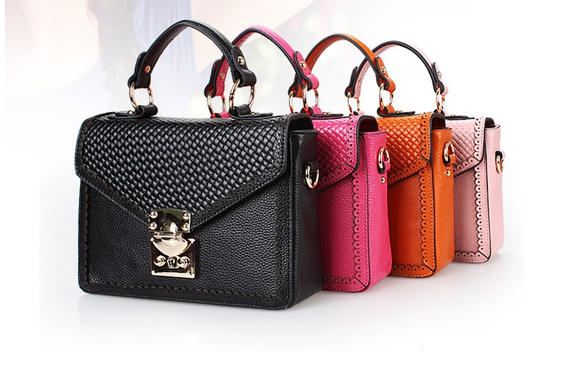Comfortable 2013 women's genuine leather handbag sweet fresh box lock bag panes 4(China (Mainland))