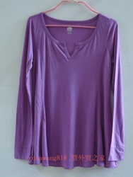 Roots women's V-neck long-sleeve T-shirt 100% cotton modal fabric comfortable purple silky(China (Mainland))