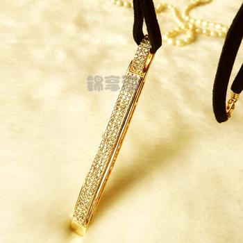 Long rhinestone necklace anti-allergic brief fashion necklace pendant