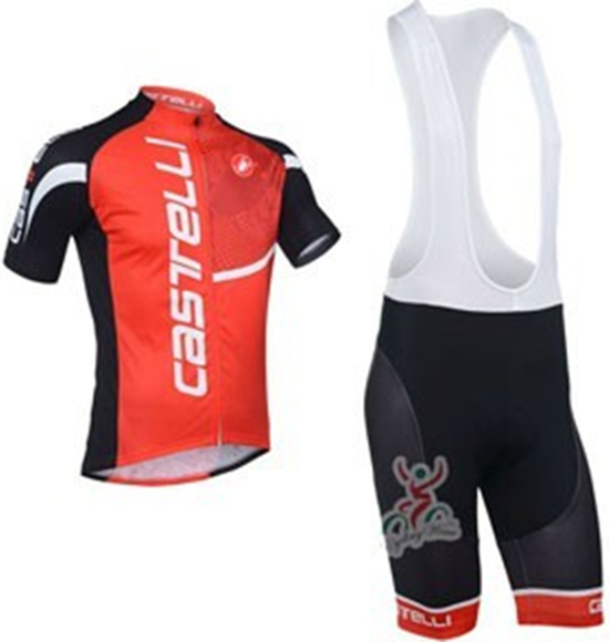 2013 New Castelli Team Red Cycling Jersey Short Sleeve And Cycling Bib Shorts Outdoor Bike Clothing Summer Men Cycling Clothes(China (Mainland))