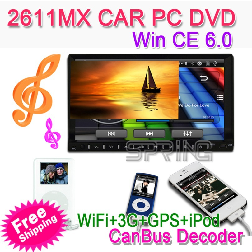 "FREESHIPPING 2Din 6.2"" Universal CAR PC Computer DVD GPS Win CE 800MHZ CPU+256M DDR+4G Flash + 3G +Wifi+IPOD+GPS MAP(China (Mainland))"