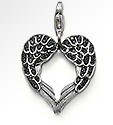 Hot sale!!!Free shipping min order 15 u.s.d.,2013 new fasion big wings heart with black cz with clasp charm(China (Mainland))
