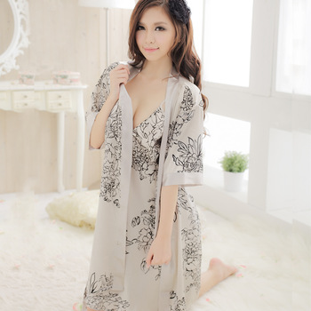 Sexy sleep set female faux silk spaghetti strap nightgown twinset silk one piece sleepwear lounge